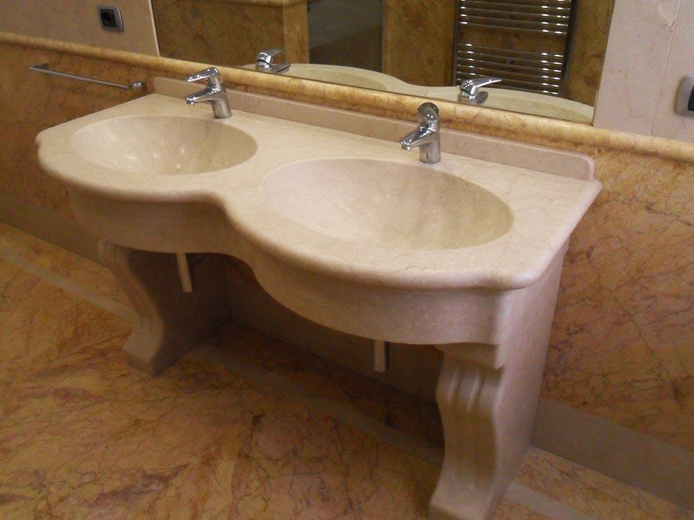 Lavandino in pietra doppio in botticino - Lavandino bagno doppio ...